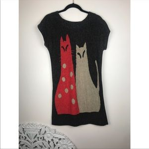 Vintage cat print mini dress tunic t-shirt